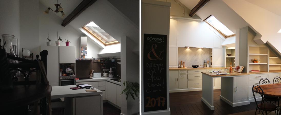 cuisine sous pente trendy decoration salon avec cuisine ouverte maison sous pente avec murs en. Black Bedroom Furniture Sets. Home Design Ideas